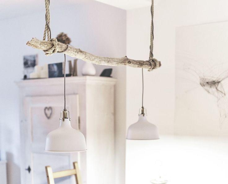 Treibholzlampe fertig DIY im Esszimmer einfach selbstgemacht