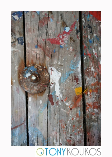 wood, paint, woodgrain, splatter, colourful, dodecanese islands, greece, Tony Koukos, Koukos