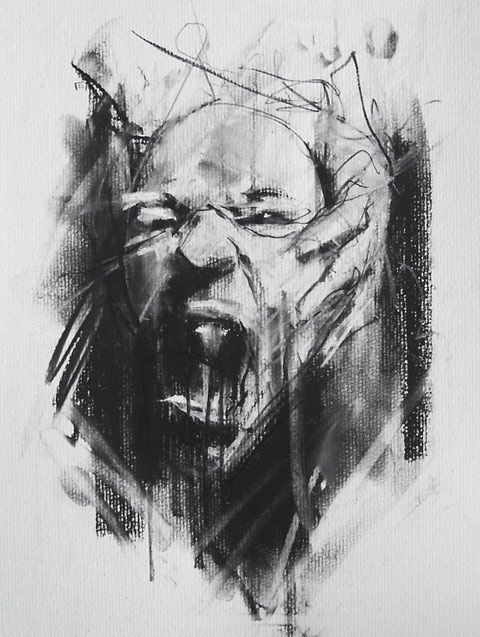 guy denning  _  I didn't put this in character design  Illustration because even though its very facial and expressionistic - its only shows a finished sketch, and you are only seeing one pose. It is nice and intense - the rubber marks and charcoal framing make it          more authentic, but its not a working progress - definitely a finished 'one off' sketch.