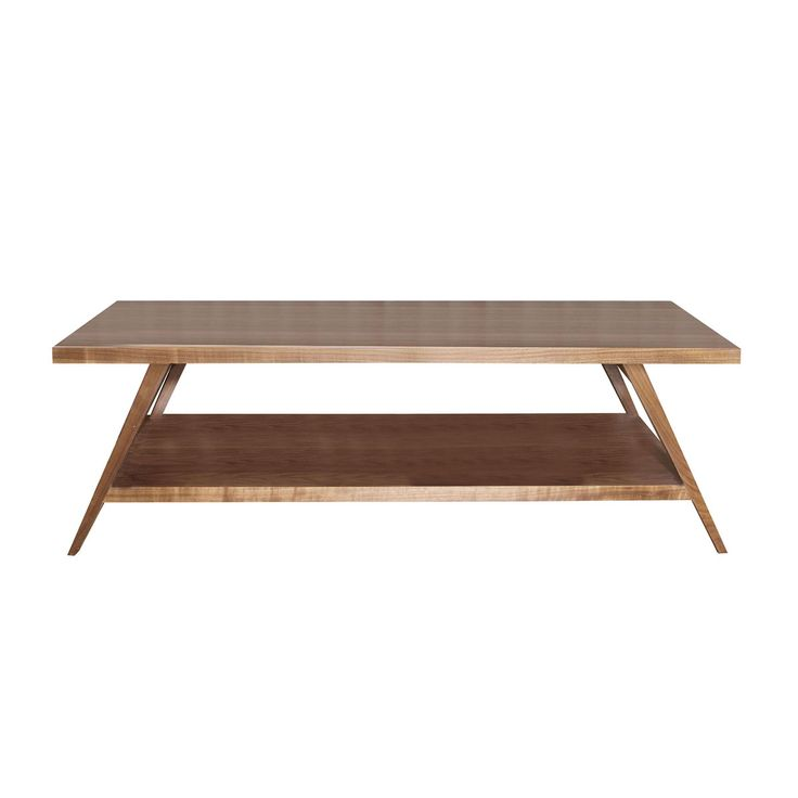 Coffee table walnut top and shelf on tapered legs – 30ct/wal/shelf