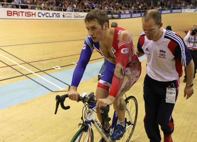 Team GB star Jason Kenny after his crash in the men's keirin. #roadrash