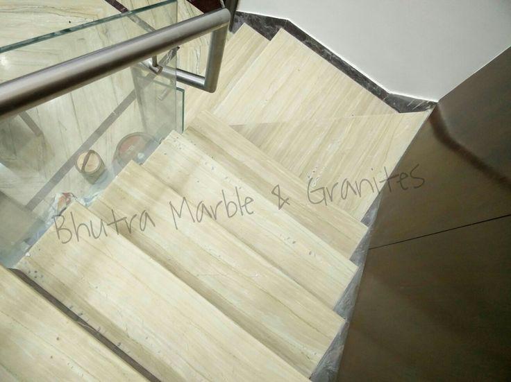 #Stairs #MarbleStairs #Katni Marble In Stairs #PerfectFlooring #Interior #KatniMarblewithglassrailing  #Katni Marble With Glass Railing  www.marbleinkishangarh.net