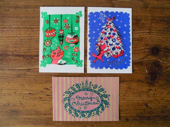 オリジナルデザインのクリスマスカードの5枚セットです。(写真は3枚載せています)全て、「孔版印刷」という印刷法でプリントされています。近くで見ると、昔の新聞み... ハンドメイド、手作り、手仕事品の通販・販売・購入ならCreema。