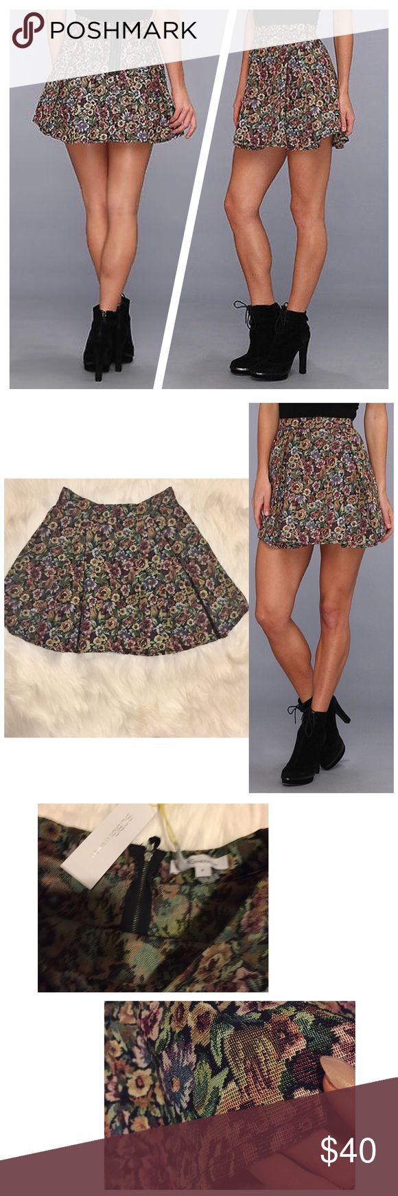 BCBG pleated floral tapestry skirt Beautiful skirt. New with tags. No longer sold at stores BCBGeneration Skirts Circle & Skater