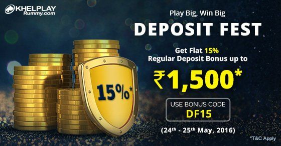 KhelPlay Rummy (@KhelPlayRummy) | Twitter Deposit Fest Get 15% #bonus on your Regular Deposits! ✅http://bit.ly/1Tte2Zu  #PlayRummy #RummyOffer #KhelPlayRummy