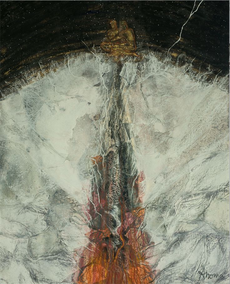 ANOMA WIJEWARDENE - THE STARS WILL WARM US ON THE LONGEST NIGHT, 2012, Mixed media on paper, 90 x 68cm