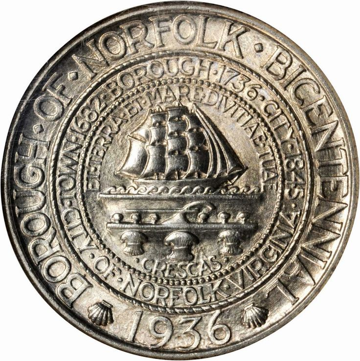 El Bicentenario 1936 Norfolk medio dólar fue emitida para conmemorar el 200 aniversario de la creación de Norfolk, Virginia como ciudad.