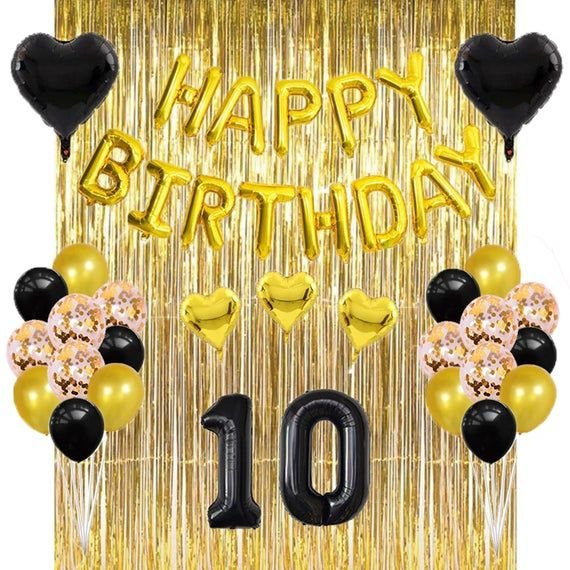 1C Happy 10th Birthday AGE 10 Party Balloons Banners Badges Decorations Helium