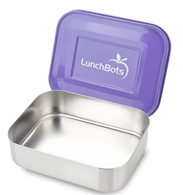 LunchBots Uno Purple Stainless Steel Sandwich Lunch Container keeps grilled sandwiches warm