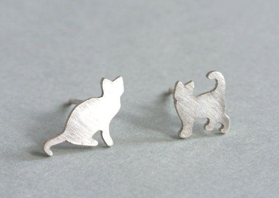 Tiny Silver Cat Earrings by HestiaJewelry on Etsy, $38.00