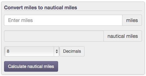 length conversion from miles to nautical miles (mi to nmi) with calculators, formulas, and tables