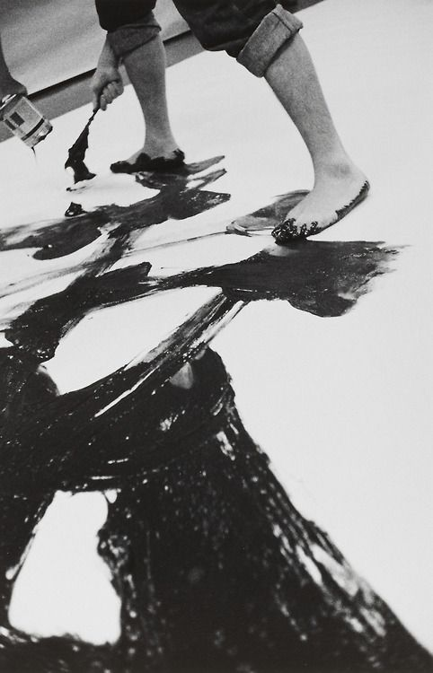 Kazuo Shiraga painting at the 2nd Gutai Art Exhibition, Tokyo, 1956, photographs by Kiyoji Otsuji