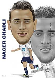 Nacer Chadli Caricature, another great prospect for Spurs!!  You can buy this on A3 photo paper or on a boxed A3 canvas.