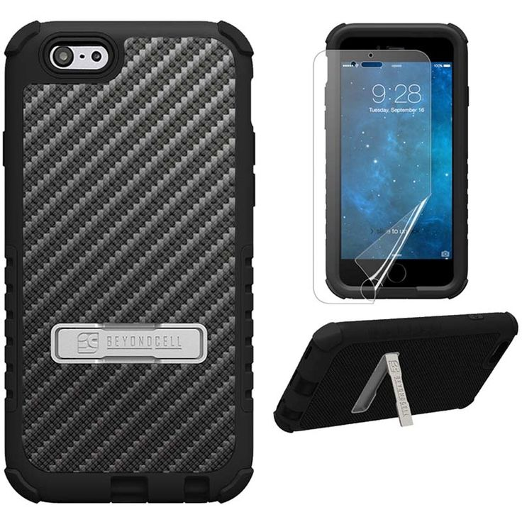 iPhone 6 Plus Beyond Cell Tri Shield Hybrid Design Cover - Karbonfiber Sort