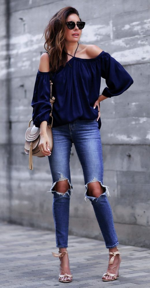 off shoulder blouser with ripped jeans