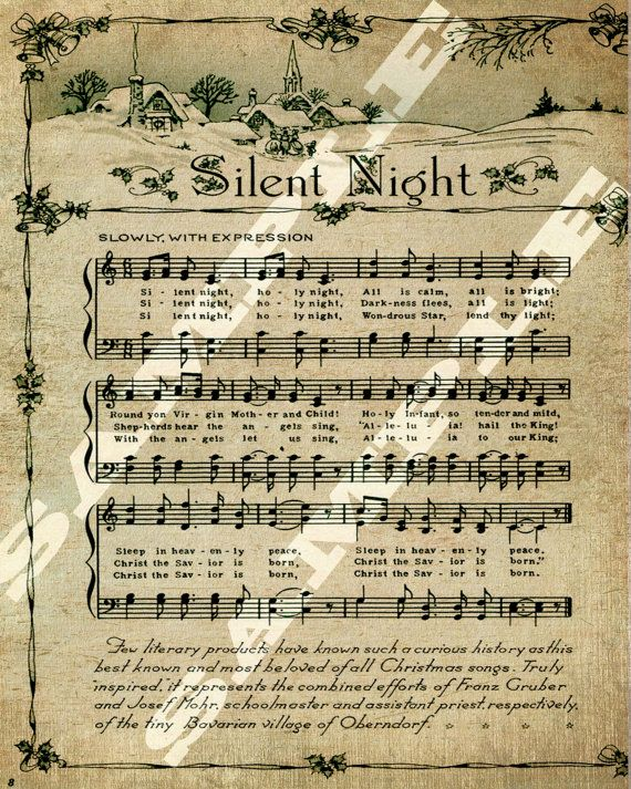 Christmas Holiday Religious Silent Night Sheet Music Printable Download Tag Sign 8x10 | Vintage ...