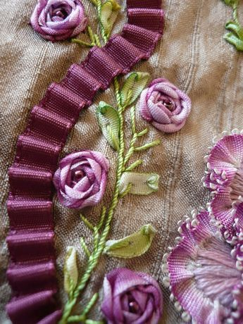 silk embroidery and ribbon