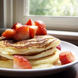 Delicious and healthy pancakes made with greek yogurt and honey!