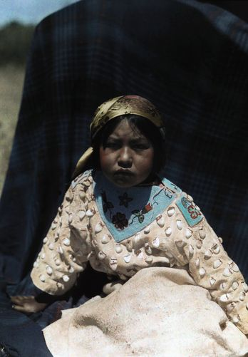 Montana - A Crow Indian child wears a buckskin dress of beads and teeth, Crow Indian Reservation: American Indians, Native Americans, Indian Reservation, Children, Beads, Crow Indians, Buckskin Dress, Indian Child