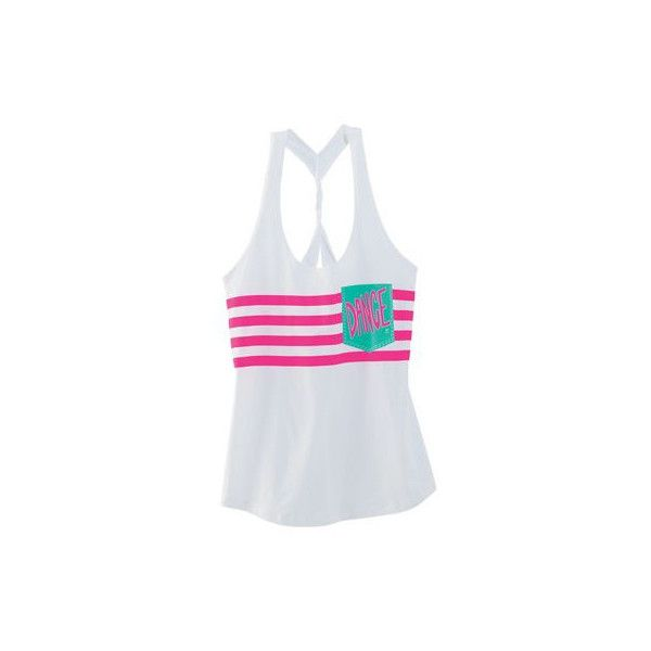 Dance Striped Loose Tank ($17) ❤ liked on Polyvore featuring tops, stripe tank top, pocket tank tops, loose fit tank top, white tank and pocket tanks