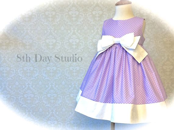 Girls Easter Dress, Toddler Easter Dress, Lavender or Pink Bow Dress, Special Occasion, Church, Wedding, Size 18mo-6 by 8th Day Studio