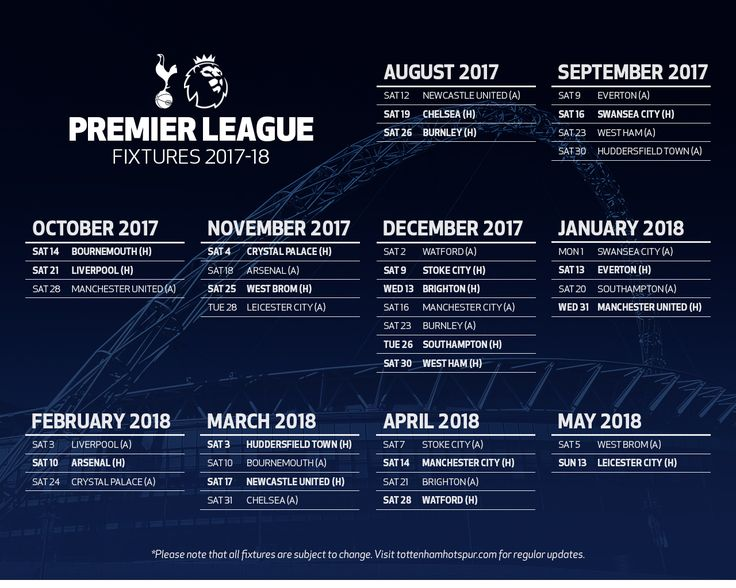 Jadwal dan Hasil Tottenham Hotspur di Liga Inggris Musim 2017/2018
