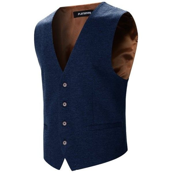 FLATSEVEN Mens Designer Stylish Casual Vest WaistCoat (1.095 CZK) ❤ liked on Polyvore featuring men's fashion, men's clothing, men's outerwear, men's vests, mens waistcoats, mens vest outerwear and mens vest