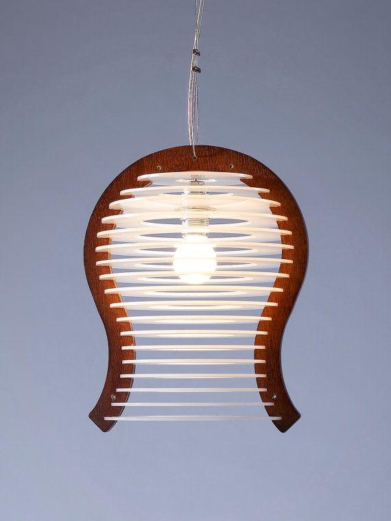 Large Pendant Lighting , Pendant Lamp , Modern Chandelier , Light Fixture , Wood and Perspex Pendant Light , Home Decor