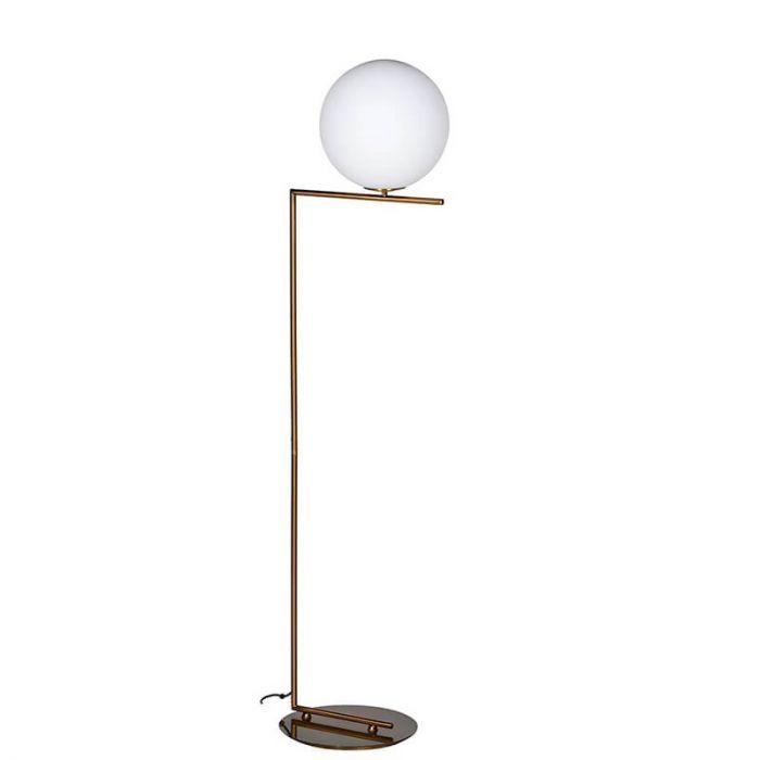 Moderne Stehlampe mit Kugel Lampenschirm, bronze   Stehlampe