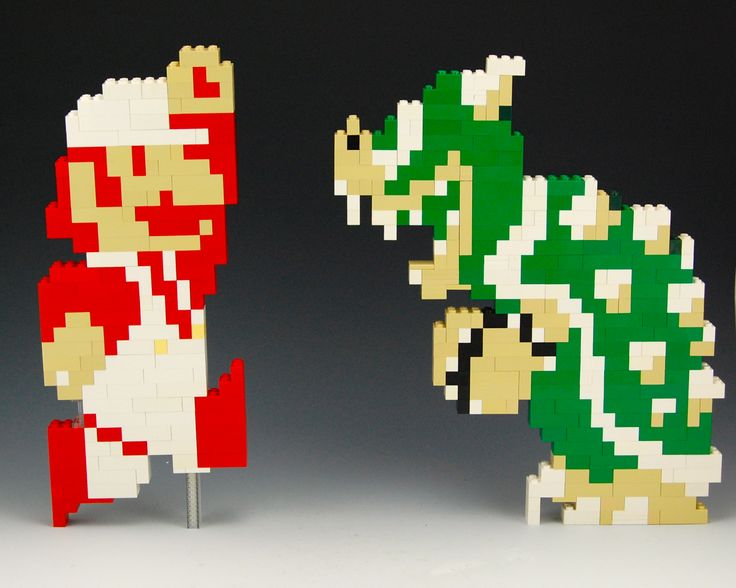 Lego Mario and Lego Bowser by BrickBum