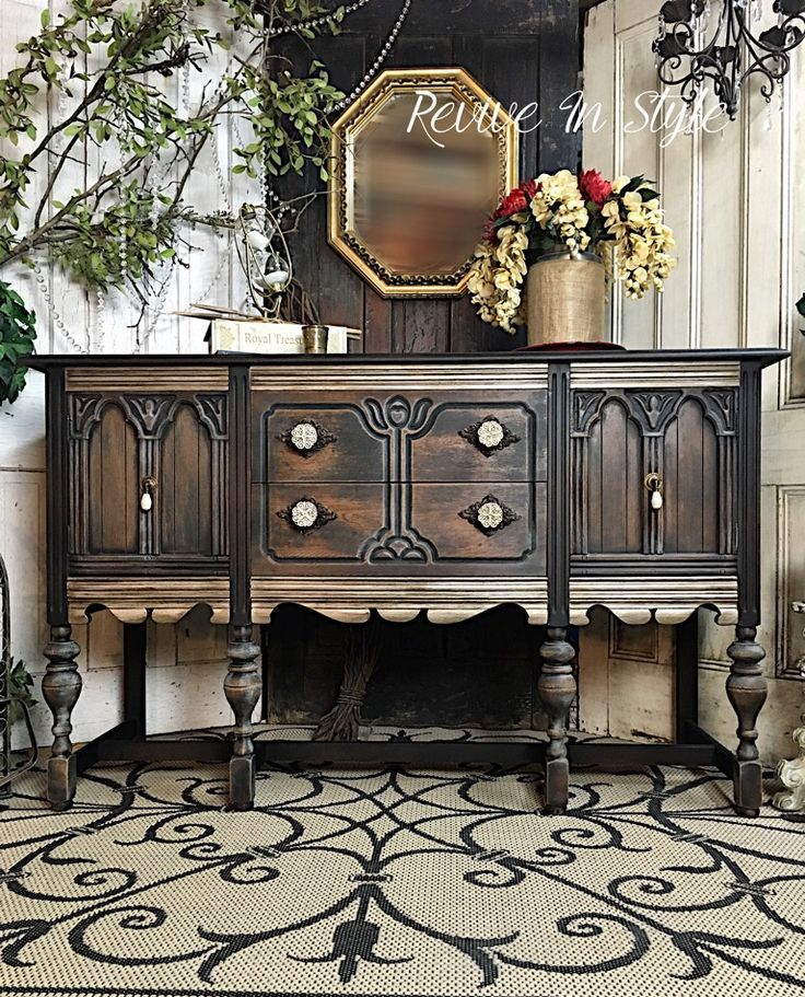 Vintage buffet refinished in General Finishes Lamp Black and Modern Masters metallic paint (custom blend). Heirloom Traditions Rust Dust. Rustic and Glamorous furniture makeover. Revive In Style