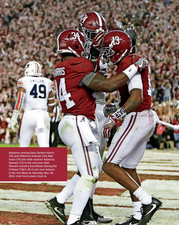 "ArDarius Stewart TD celebration vs Auburn in the 30 - 12 Iron Bowl victory in 2016 - ""Recapping the 2016 Season"" from the Tuscaloosa Magazine Special 2017 Issue by Tuscaloosa News 