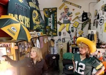 In January 2012, the ChicoER reported on Anne Calhoon, a Spanish teacher at Aaron Rodgers' alma mater, Pleasant Valley High School. Calhoon is a Rodgers superfan whose classroom is a dedicated shrine to the Green Bay Packers' Super Bowl-winning quarterback.      Displayed in Calhoon's shrine are a number of jerseys, photographs, newspaper clippings, a Fathead, footballs and dozens of other various items.