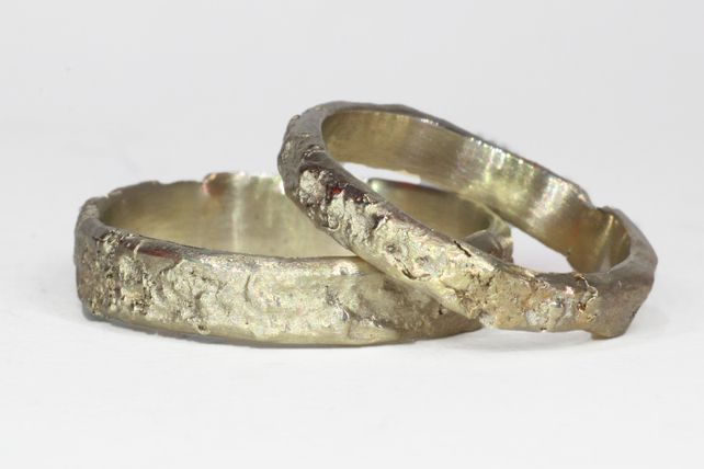 9k Yellow Gold Wedding Ring Set - Rough, Organic Finish, Men's and Women's matching rings, by asterlingidea on Folksy, £420.00