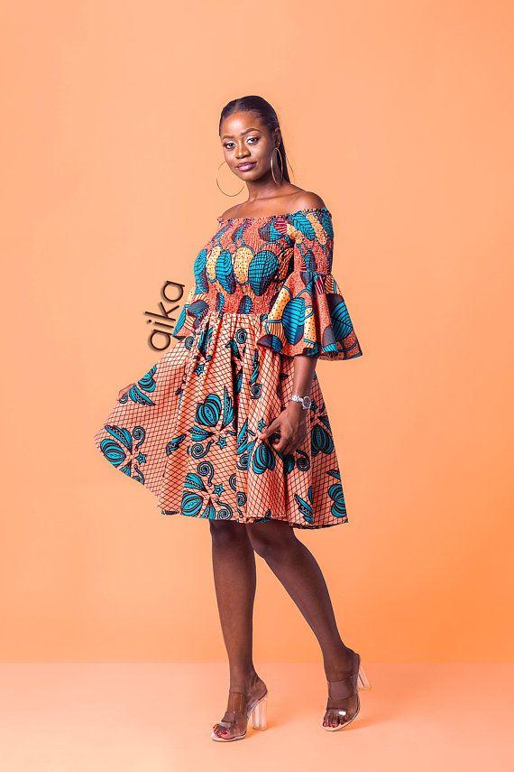 Ankara Off Shoulder Elastic Dress African Print Dress