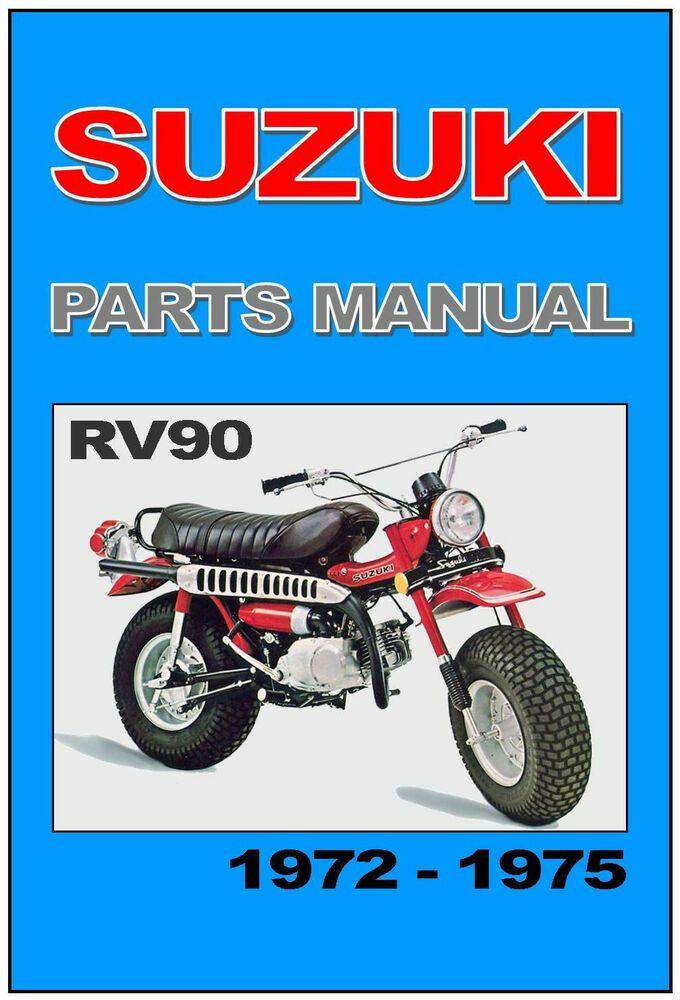 Suzuki Parts Manual Rv90 1972 1973 1974 And 1975 Van Van Spares Catalog List Custom Mini Bike Suzuki Van Van Suzuki