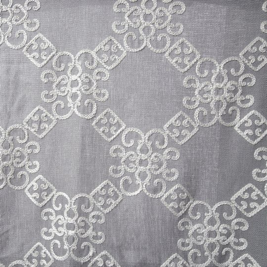 Laurel Embroidered Linen Style Curtain Panel With White On Grey Color:  Semi Sheer :