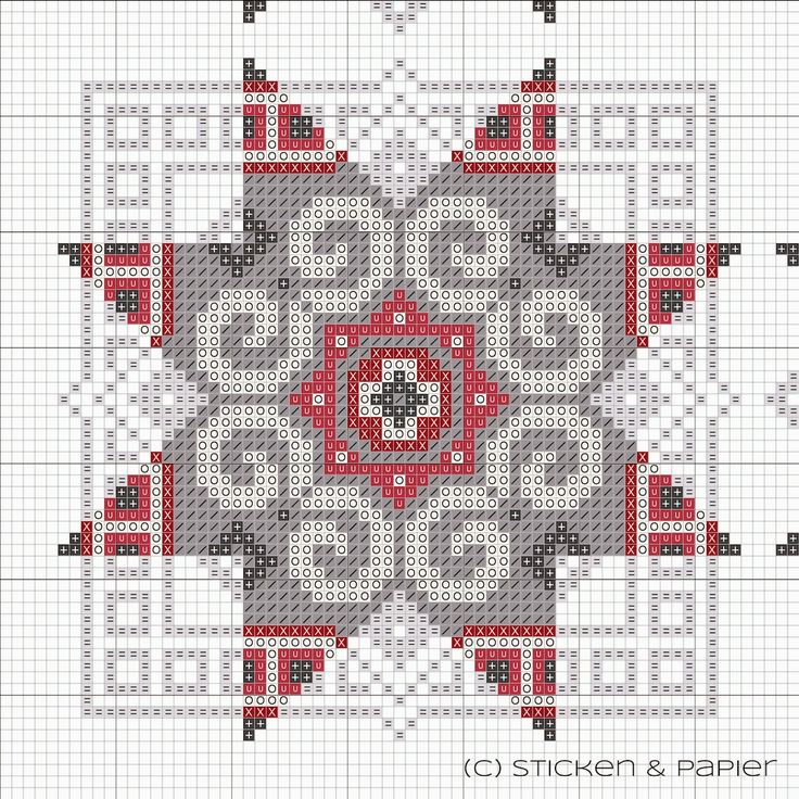 Cross-stitch pattern suggested as a wicked quilt pattern - awesome in red, black, white, and gray!