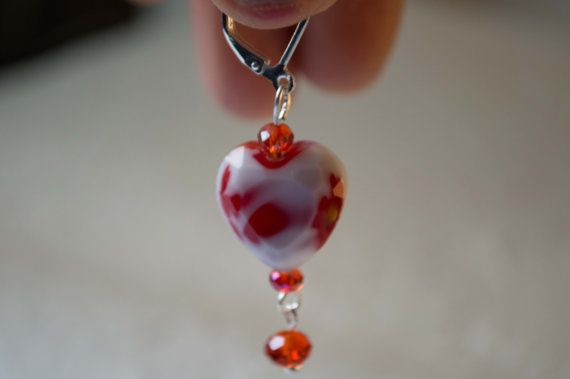 Red Heart Glass Beads with Red Crystal Earring by Unikacreazioni