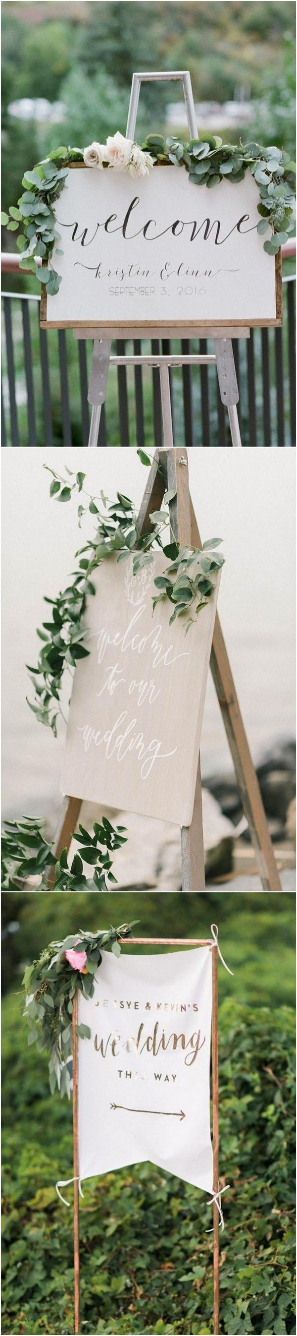 Trending greenery chic wedding signs #weddingideas #weddingsigns #wedding