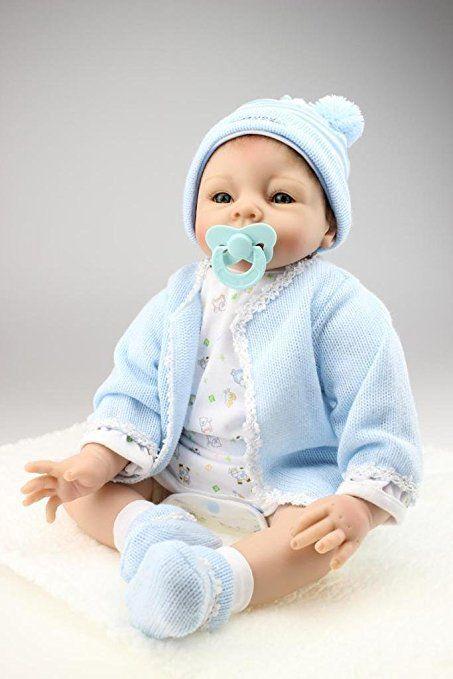 Nicery Morbido Silicone Bambola Reborn Bambino 22inch 55 Centimetri Magnetica Bocca Bella Realistica Carino Ragazza Del Ragazzo Blu Giocattolo Outfits Baby Doll A3IT