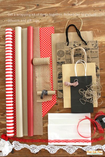 A collection of items that can be used in your wrapping kit, Kraft paper, double sided paper, laces and ribbons, strings, paper bags and doilies. #freeprintables #planeatplay