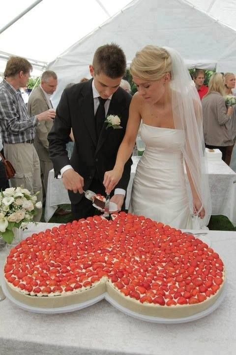 I love the idea of having a giant cheesecake at my wedding! especially since neither of us like cake!