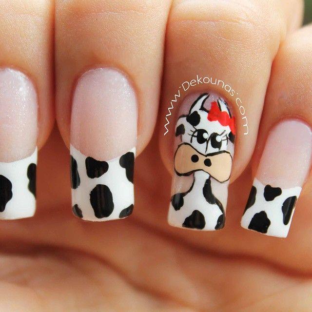 www.Dekounas.com #dekouñas  #nailart #nails  #decoracionuñas  #vaca #cownails #cownailart #decoracionuñasvaca