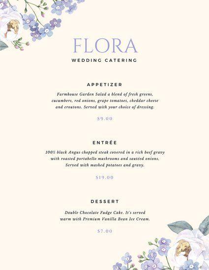 Lavender Floral Catering Menu
