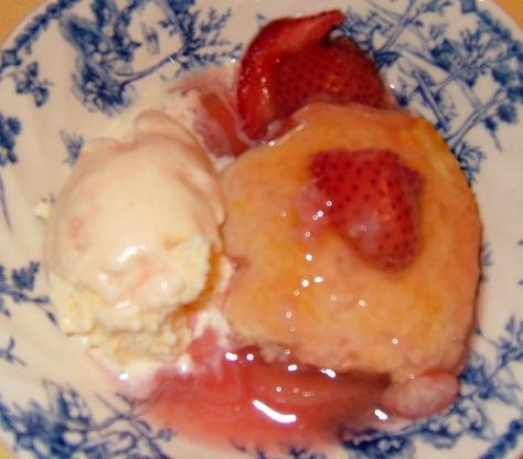 Delicious way to use up all those strawberries you need to buy for this!! As a note: Ive not made this yet. Several reviewers mentioned that the sauce was too thin, so you might want to read their suggestions prior to making the recipe.