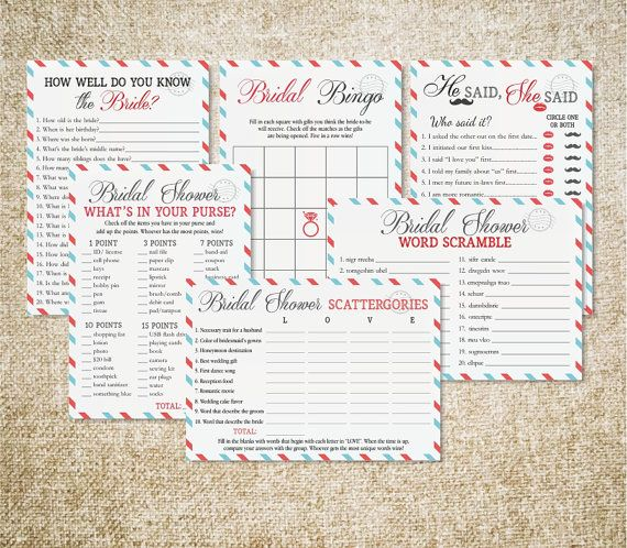 travel bridal shower printable games package game by more