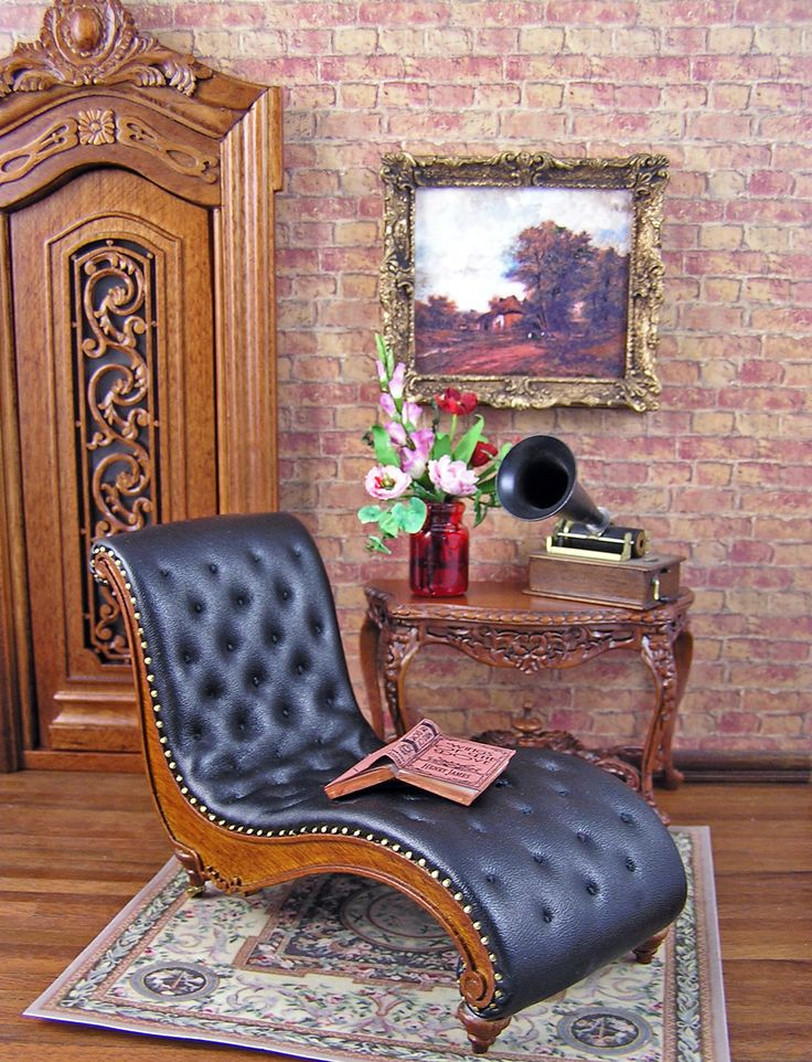 Black leather chaise miniature pinterest for 5 5 designers chaise
