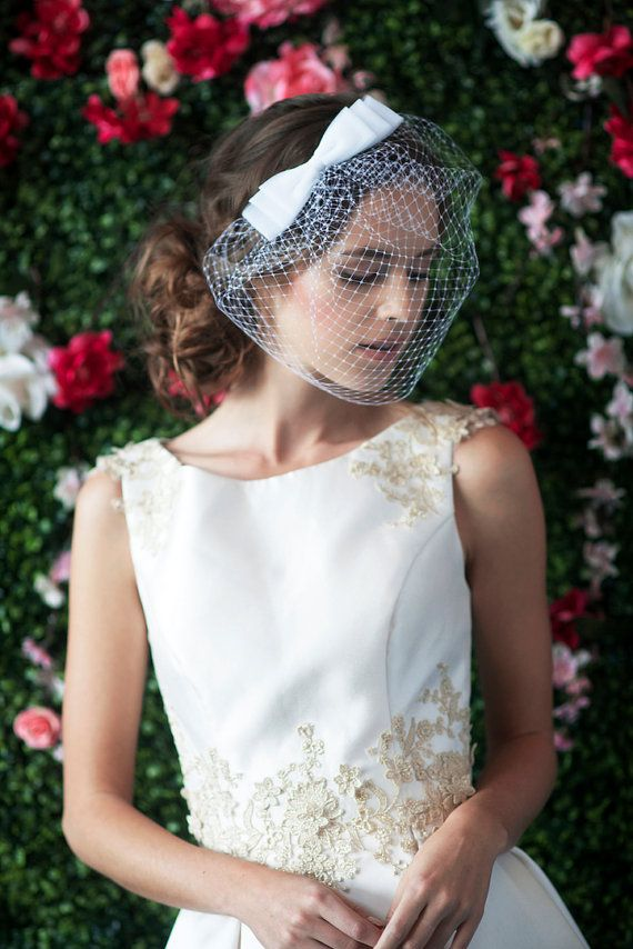 COSETTE NETTING BIRDCAGE  birdcage veil with 3 layer bow