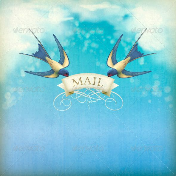 "Swallows Mail Vintage Postcard #GraphicRiver Free flying birds (swallows) with decorative banner, text ""Mail"" on a blue sky nature background with white clouds, subtle grunge texture, blurs. EPS 10 vector illustration. Image contains transparency and blending modes. Standard Castellar font was used. Package includes hi-res (300 dpi) JPG file, 4000px x 4000px Created: 30May13 GraphicsFilesIncluded: JPGImage #VectorEPS Layered: Yes MinimumAdobeCSVersion: CS Tags: avian #background #banner…"